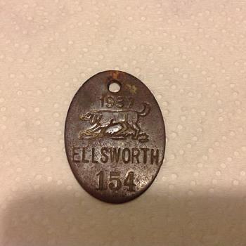 1937 Registered Hounddog Tag... - Medals Pins and Badges