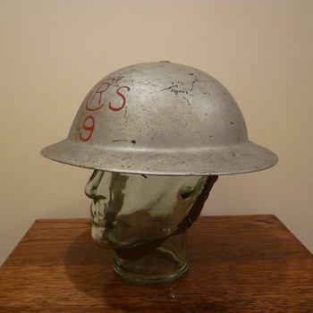 British Royal Air Force WWII Crash Rescue steel helmet.