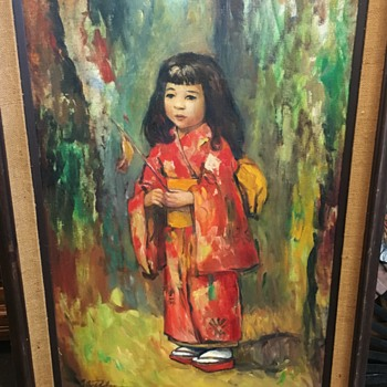 Asian-themed Mid Century Painting of a Young Girl in a Kimono [or something?] - Fine Art