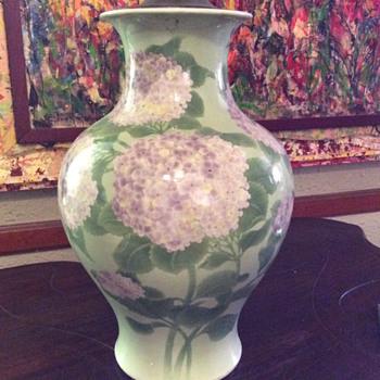 Antique Asian huge porcelain vase celadon w hydrangeas or lilacs - Asian