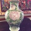 Antique Asian huge porcelain vase celadon w hydrangeas or lilacs