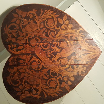 Small Marquetry Heart Folding Table  - Furniture