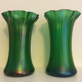 Green iridescent pair  - Art Glass
