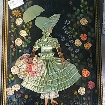 Woman in Dress fabric picture in frame - Folk Art