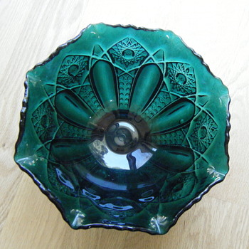 Emerald Thick Pressed Glass Bowl