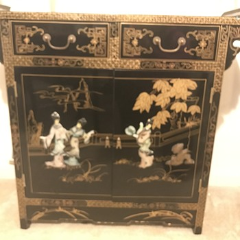 Chinese black lacquer mother of pearl liquor cabinet