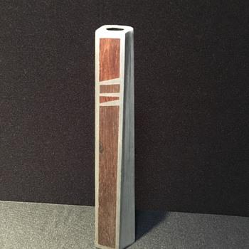 Teak and brushed aluminum vase.  - Mid-Century Modern