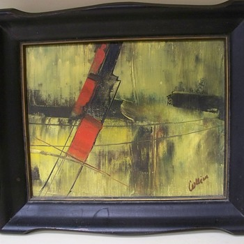 Vintage Abstract Painting -  Signed Collier or Collin??  Info request  - Fine Art