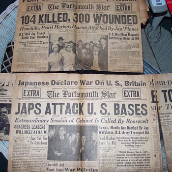 Pearl Harbor Attack Newspapers Discovered. - Paper