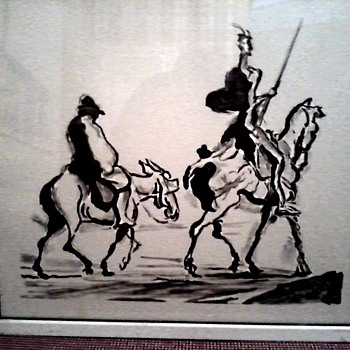 "Honore' Daumier Print 23"" x 20"" / Don Quixote and Sancho Panza/ Circa 20th Century"
