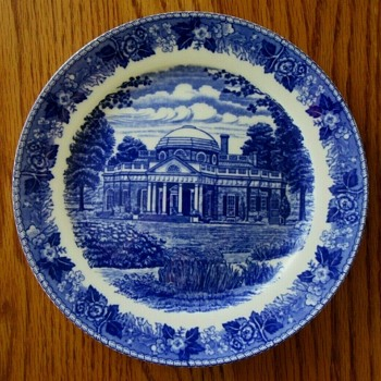 7 inch blue and white Old English Royal Staffordshire plate - Advertising