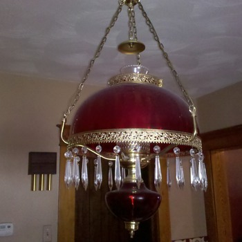 Antique depression glass light fixture?  Possibly? - Lamps