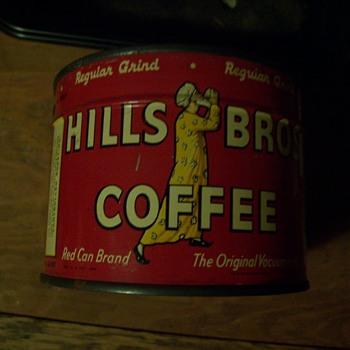 UNOPENED  1936  1/2 POUND  HILLS BROS. COFFEE TIN - Advertising