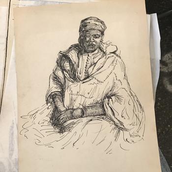Vintage Ink On Paper Sketches  - Fine Art