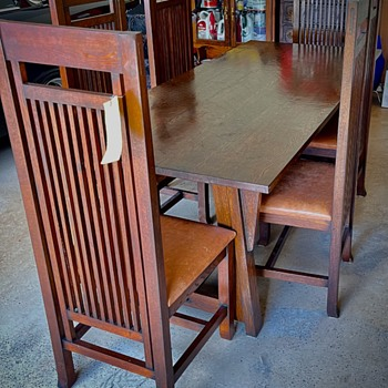 Antique Mission Style Dining Table & Chairs - Furniture