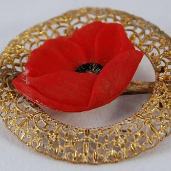 Red Poppy (Resin?) Brooch - Costume Jewelry