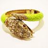 Vintage Kenneth Jay Lane Lime Green Enamel Snake Bracelet