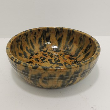 Yellow Ware - Sponged Cobalt, 8 1/2 in. dia. - Possibly a Cooling Bowl - 1840-1850 - Kitchen