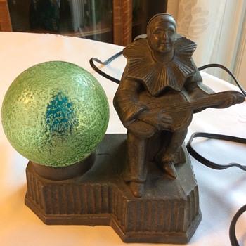 Small Bronzed Harlequin Lamp with Green Uranium ball shade - Lamps