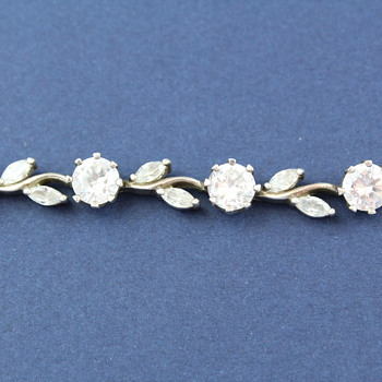 POLISH STERLING SILVER BRACELET WITH PASTE FLOWERS AND LEAVES - Costume Jewelry