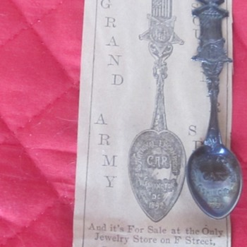 1892 GAR Washington Encampment souvenir sterling spoon, and 1892 newspaper ad - Military and Wartime