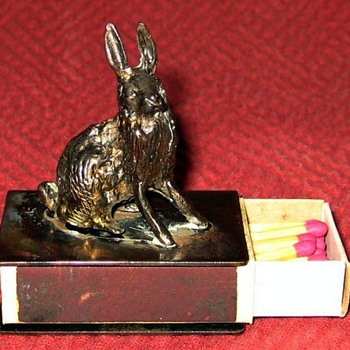 Vintage Austrian Bronze Hare Match  Box Holder And Matches - Tobacciana