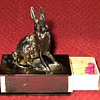 Vintage Austrian Bronze Hare Match  Box Holder And Matches