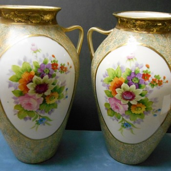 Matched Hand-Painted Japan Vases - Need Info on Mark, Please