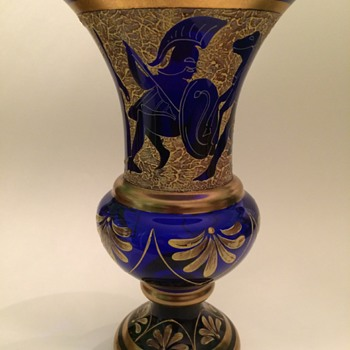 Cobalt Enameled Neo-Classical Glass Vase - Art Glass