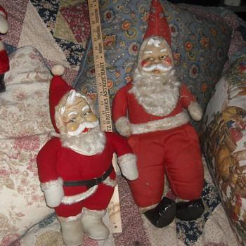 Two Vintage Santa Dolls - Christmas