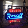 40's double sided rexall porcelain neon sign