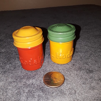 two old KODAK film canisters - Advertising
