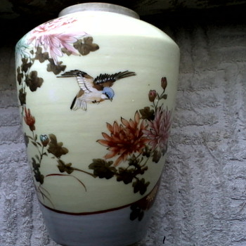 "Little Meiji Era""32"" Porcelain Jar / Vase Hand Painted Birds and Flowers with Gold Details / Circa  1868-1912 - Asian"