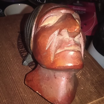 Carved wooden Indian head - Tobacciana