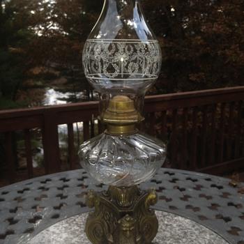 Brass lion oil hurricane lamp