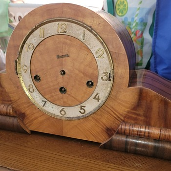 Art Deco Mantle Clock estimated 1940-50's German - Clocks