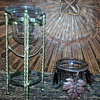 2 Glass Bowl Candle Holders on Metal Stands...