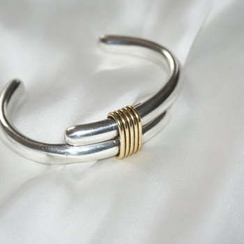 Sterling and Brass Bangle Bracelet - Mexico - Fine Jewelry