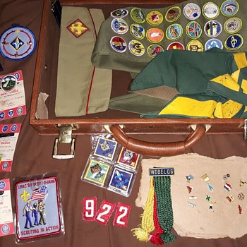 Saturday Evening Scout Post a Briefcase Full Of Scout Stuff - Medals Pins and Badges