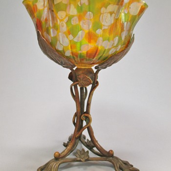 Loetz ? Heckert ?? Bronze Mounted Spotted Glass Bowl/Compote - Art Glass