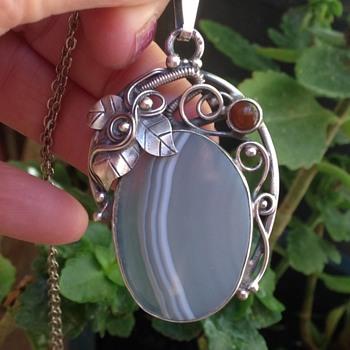 Silver Agate Pendant