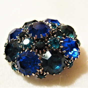 Round Blue's & Teal WEISS Dome Brooch - Costume Jewelry