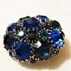 Round Blue's & Teal WEISS Dome Brooch