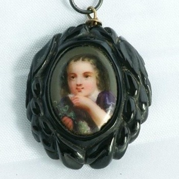 VICTORIAN Whitby jet pendant set with hand-painted porcelain plaque of a young boy portrait  - Victorian Era