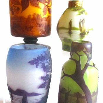 Loetz Cameos: Sailboats and marks - Art Glass