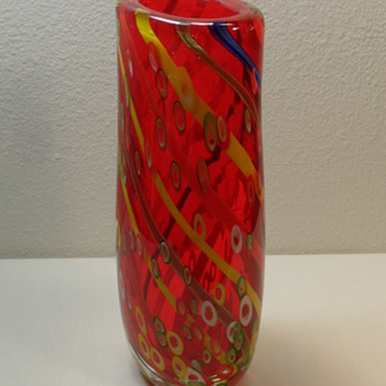 "Murano Tall Red Vase - 12"" - Art Glass"
