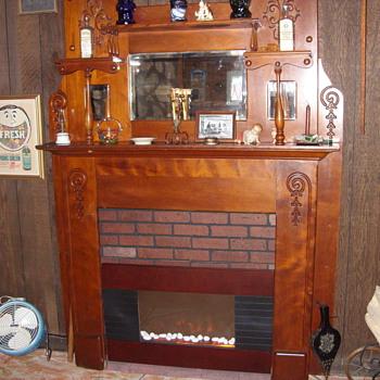 walnut victorian fireplace mantle - Furniture