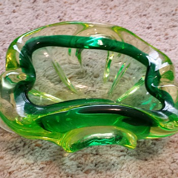 vintage  blown glass ashtray - Art Glass