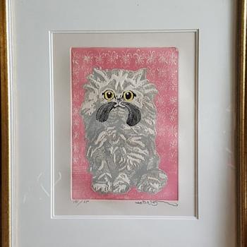 """Motoi Oi Embossed Print """"Angora Kitten"""" - Fine Art"""