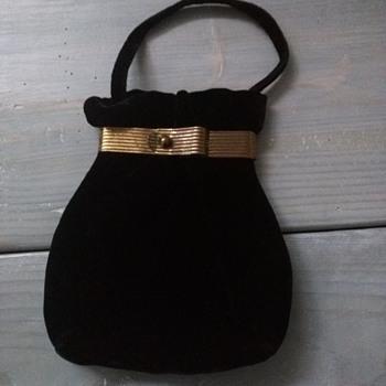 Vintage antique black velvet 1920s brass purse - Art Deco
